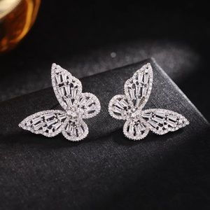 Big Silver Butterfly Crystals Earrings
